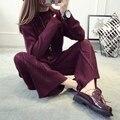 Crop Top Y Falda Set Venta Caliente Patrón de Algodón Completo 2016 nuevo Suéter de Invierno Establece Sueltos + Femenina de Punto Pantalones de Dos Piezas traje