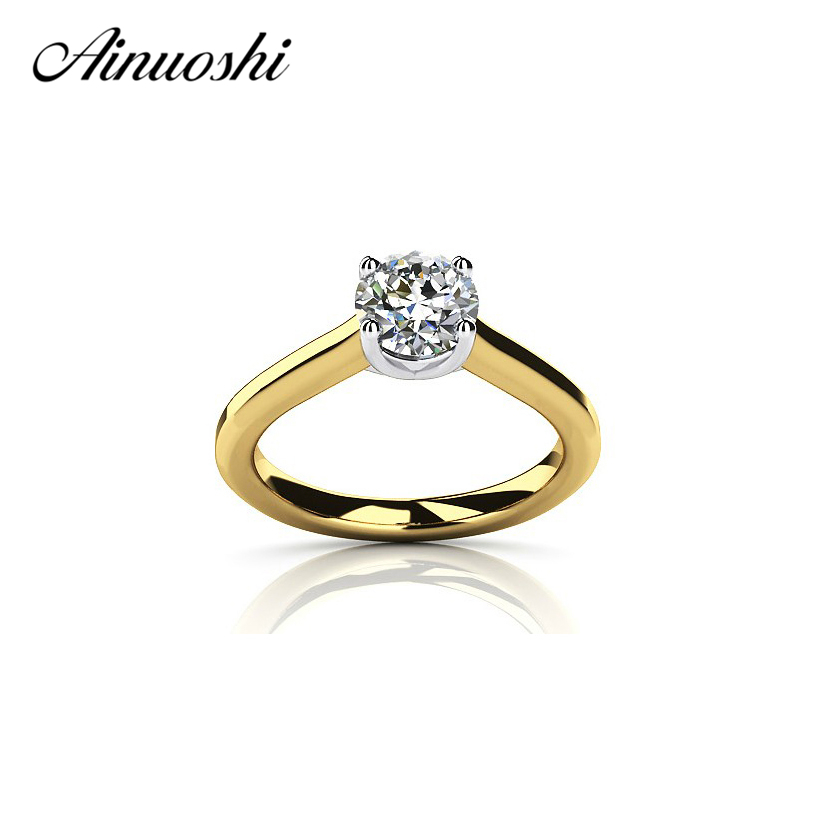 AINOUSHI 1 Carat Luxury Yellow Gold Color Ring 925 Sterling Silver Rond Cut Solitaire Bridal Band Women Engagement Wedding