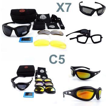 Óculos de Proteção Óculos De Sol Dos Homens do exército Militar Óculos De Sol Masculino 4 Lente Kit Para O Jogo de Guerra Tático C5 X7 Óculos Ao Ar Livre dos homens caça esportiva