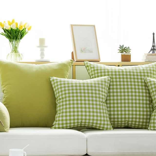 Past Green Plaid Polyester Rectangle Decorative Pillow Geometric Yarn Dyed High Qualityprinted Outdoor Cushions With Filling