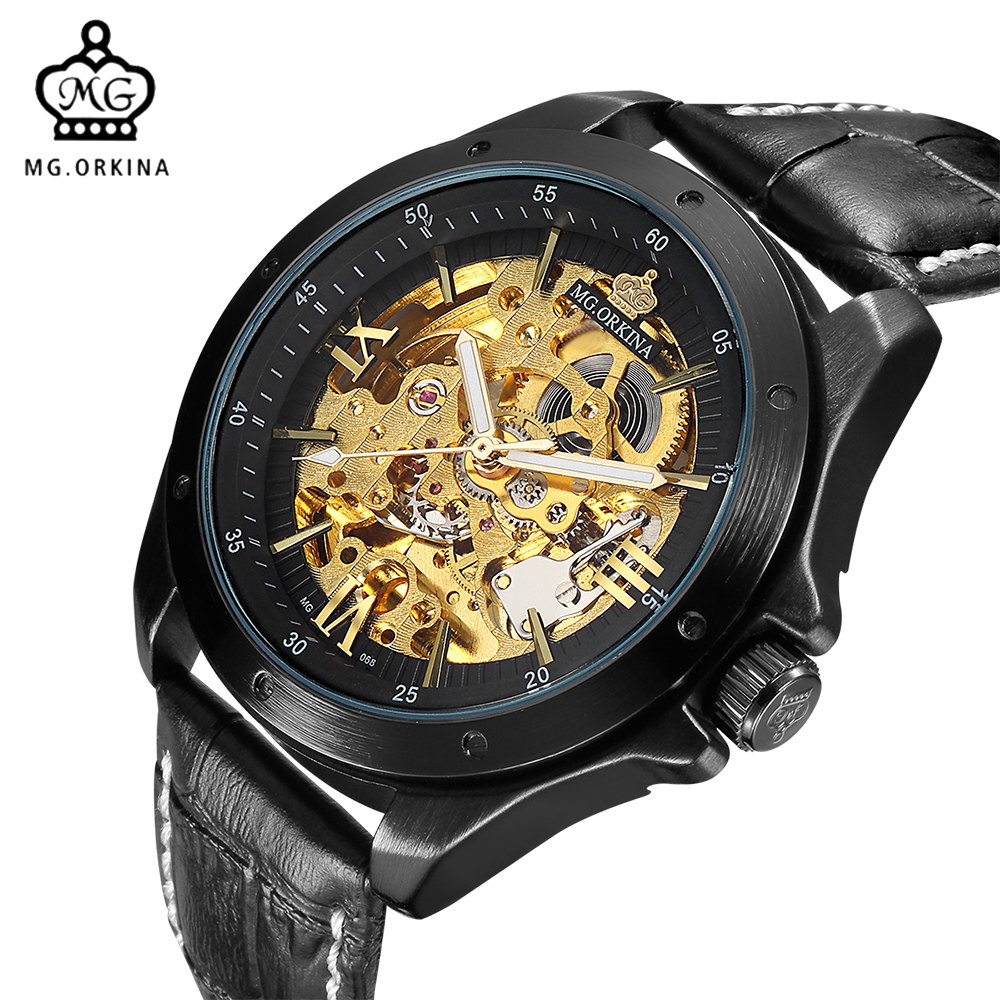 где купить MG. ORKINA Automatic Men Watches 2017 Black Leather Belt Stainless Steel Case Golden Skeleton Male Clock Mechanical Watch по лучшей цене