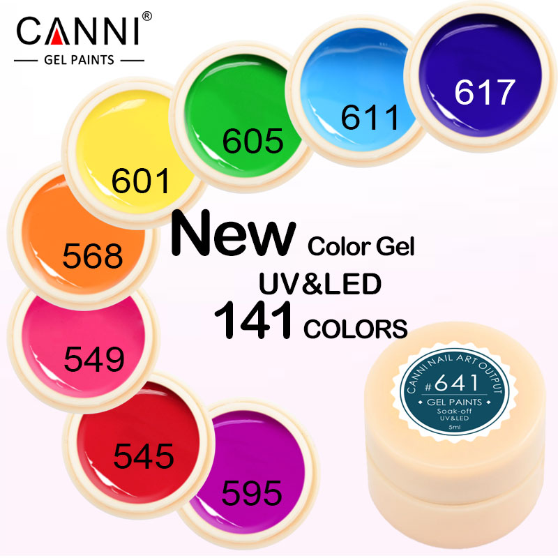 CANNI 5ml Painting Gel Kit High Quality Soak Off UV LED Solid Nail Art Design Output Gel Nail Polish