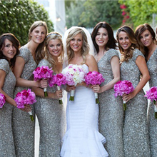 Sliver Pailletten Lange Brautjungfer Kleider Mode Funkelnden Bodenlangen Glitter Mädchen Hochzeit Kleider Prom Kleider BMD171