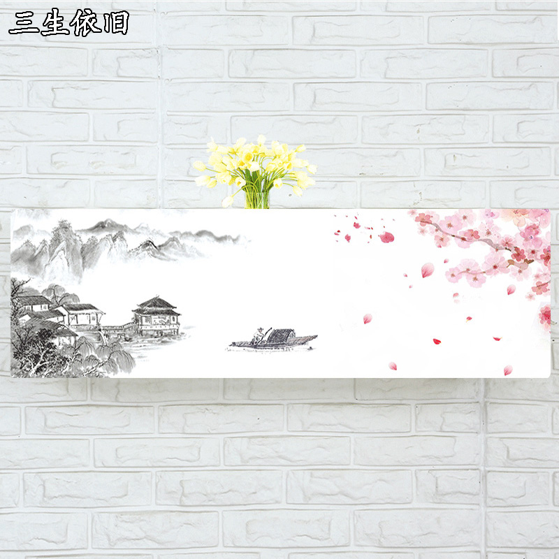 Indoor Air Conditioner Cover Wall Mounted Decorative Hood 74 79 81 83 86 89 95 105 X 30 X 20cm Plum Blossom Boat Hill Pink White Discounts Sale