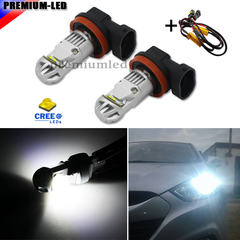 Super Bright 6000K Xenon White CRE E H8 H11 H16 LED Replacement Bulbs For Fog Light Driving Lamps + Error Free Canbus Decoders 2pcs high power super bright 6000k xenon white cree xb d h8 h11 led replacement bulbs for fog light driving lamps