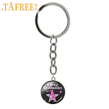 Фотография Exquisite popular sports style key chain graceful postures Gymnastics art picture pendant keychain ring jewelry women gift NS558