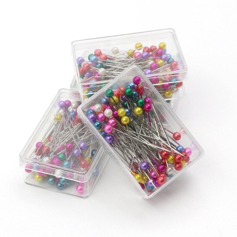 100Pcs couture coudre Pin Straight Pins coloré tête ronde perle corsage