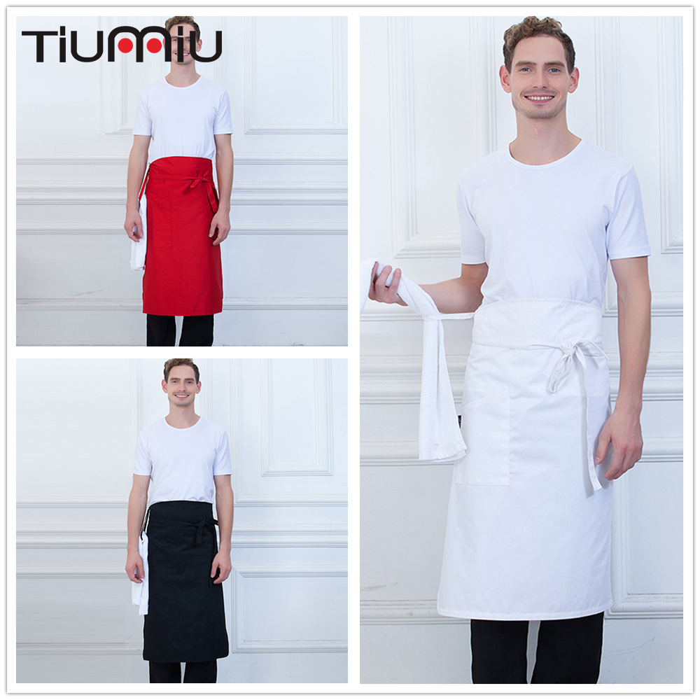 Solid Color Apron With Pocket And Rope High Quality Wholesale Kitchen Hotel Coffee Shop Bakery Chef Waiter Clean Workwear Aprons