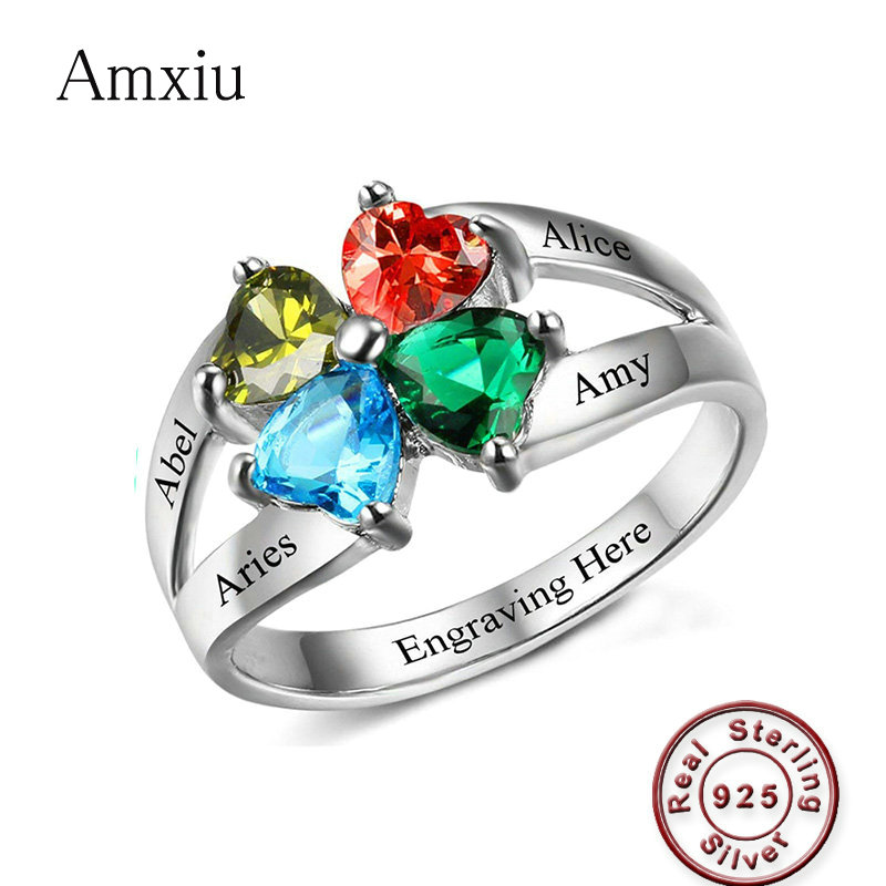 Amxiu Engrave Four Names 925 Sterling Silver Rings Jewelry Custom Heart Birthstones Rings For Family Friends