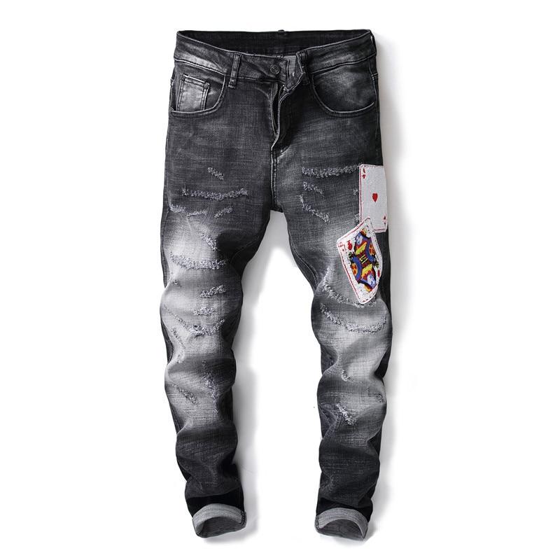 Fashion Poker Embroidery Man Jeans Fashion Slim Long Denim Trousers F20