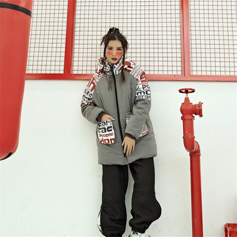 2019 New Parkas Winter For Women Casual Fashion Print Stitching