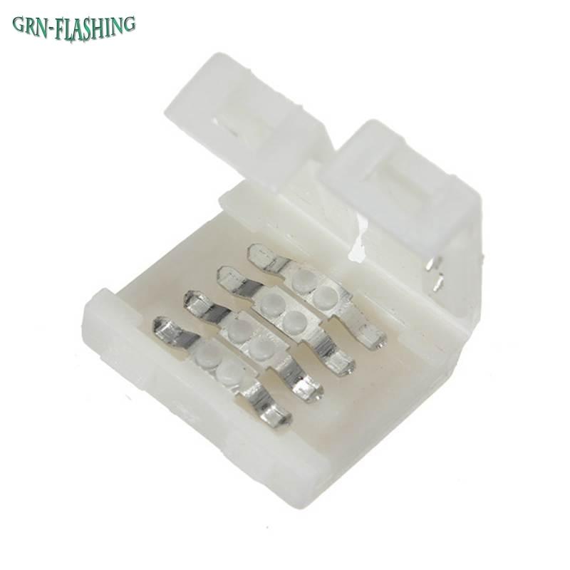 5050 RGB strip LED connector 10mm 4pin Free Welding LED strip Connector clip new 5pcs 2pin 3pin 4pin led connector l t x shape fpc adapter free welding for 8mm 10mm 3528 2812 5050 rgb light strip