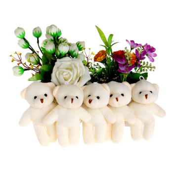 Christmas Promotion Gift  Plush Toys Cotton MINI 12CM/50LOT Flower Banquets Teddy Toys Dolls For Home Decoration Key Pendant Toy