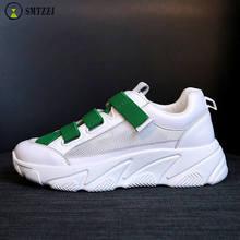 SMTZZJ 2019 Soft Shoes Flats Lady Fashion Casual Breathable Sneakers Mesh Flat Running Women Sport Platform Plus Size