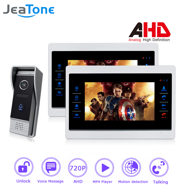 720P AHD 7 inch Video Door Phone Intercom Door Bell Door Speaker 4 Wired Hands-free Touch Button Monitor Motion Detection 1 to 2