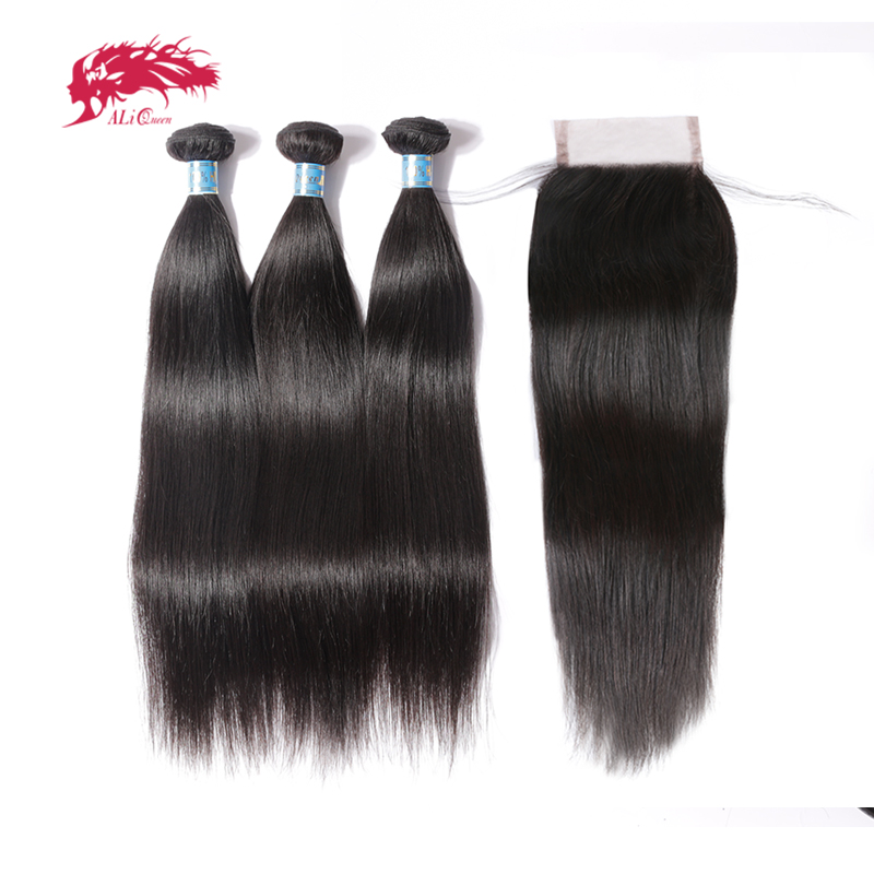 Ali Queen Hair Peruvian Virgin Straight Hair 3 Bundles With Closure Free Part Pre-Plucked Human Hair Lace Closure Natural Color
