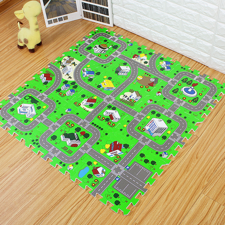City Road Traffic Baby EVA Foam Carpet Puzzle Crawling Rugs Car Track Playmat Toddler Racing Games Play Mat Toys For Children