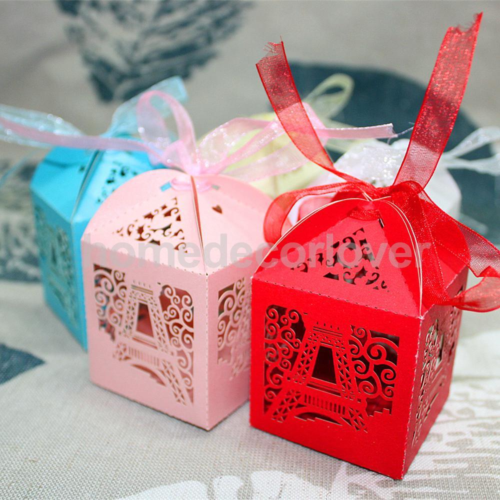 50pcs Laser Cut Eiffel Tower Wedding Favor Party Boxes Gift Box ...
