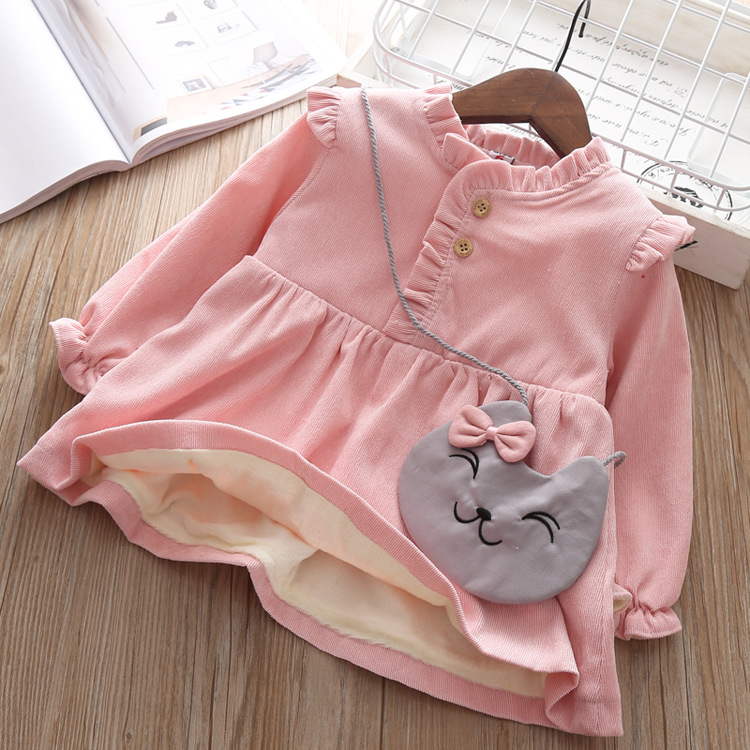 New Solid Vestido Infantil Baby Dress Girls Long-sleeved Dress Autumn Winter Brim With Velvet Children One Piece Dress Gift