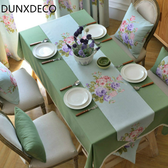Dunxdeco Table Runner Linen Cotton Tablecloth Garden Party Decoration French Country Style Flora Cover Ground Fabric