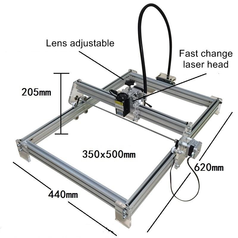 Disassembled LY 2500mw Blue Violet Laser Engraving Machine Laser Engraver 35*50cm size