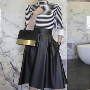b51158b34bc6a WBCTW 2018 Black Midi Length Pleated Woman Skirts