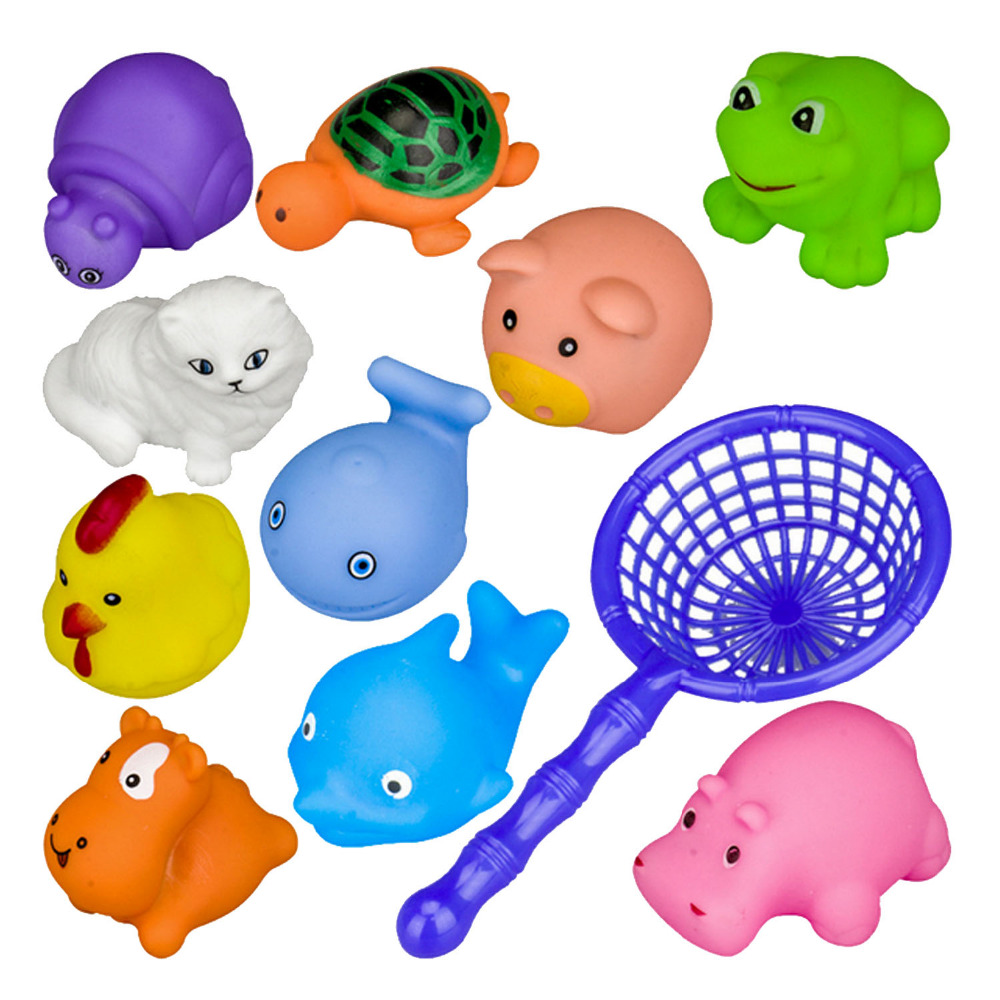 10 PCS Children Kids Animal Bath Bathtub Fishing Floating Game Toy with Catching Net Random Style