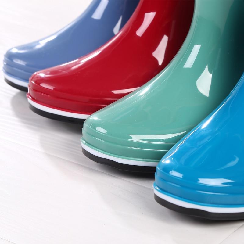 Зимние высокие резиновые сапоги; женские высокие резиновые сапоги; нескользящая водонепроницаемая и теплая резиновая обувь для дождливой погоды - 2