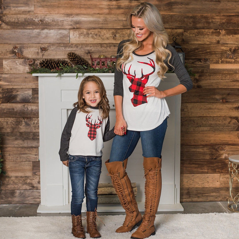 New Mom and Daughter Household Matching Girls and Ladies Christmas Deer Tops T-shirt Garments Outfits Novelty Matching Household Outfits, Low cost Matching Household Outfits, New Mom and Daughter Household...