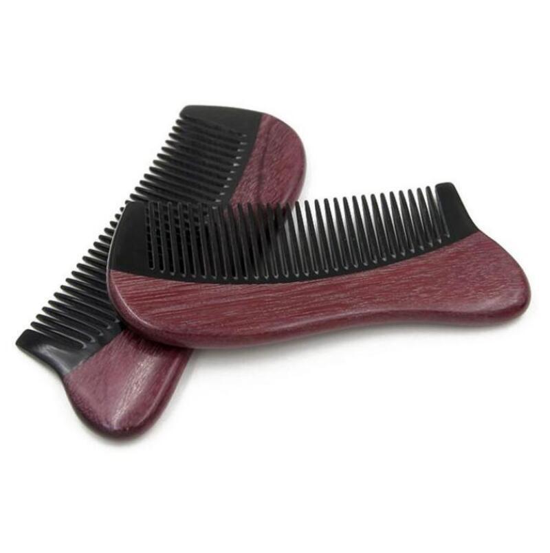 Natural purple heart Horn Comb Straight Pocket Wooden Beard Hair Combs Custom 12.5*5.2 cm   FH-10354