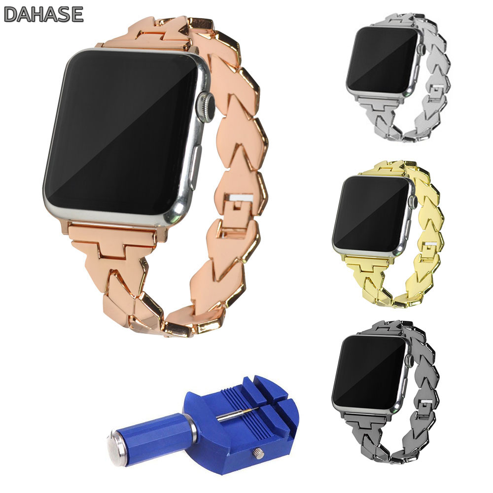 DAHASE Stainless Steel Chain Bracelet for Apple Watch Series 1 2 3 Strap Wristband for iWatch Band 42mm 38mm with Connectors isunzun watch bands for tissot 1853 t045 407a t045 harbor series steel strip brand watch straps stainless steel watch chain