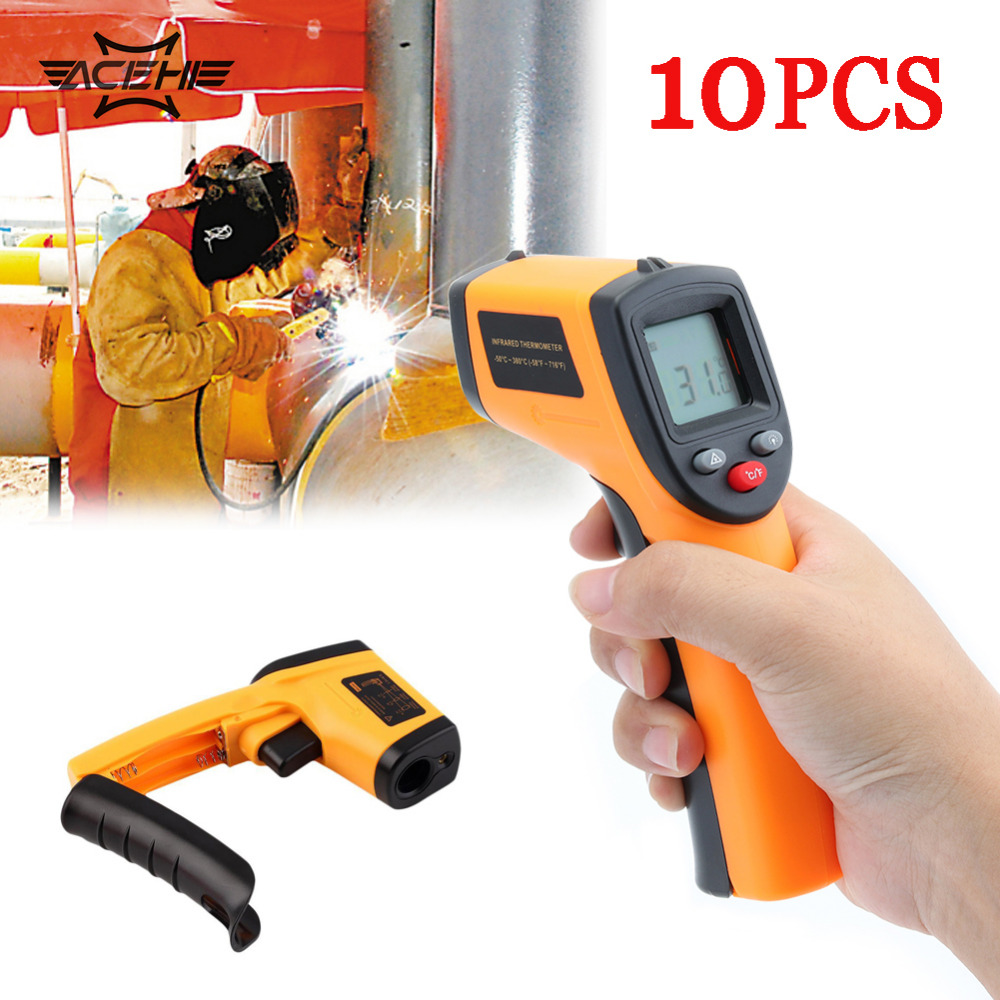 10PCS GM320 Non Contact Laser LCD Display IR Infrared Digital Temperature Thermometer For Industry Home Use