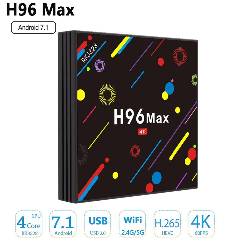 цена на [Genuine] h96 pro H2 4g 32g Smart TV Box Android 7.1 Rockchip RK3328 Quad-core Wifi 4K H.265 H96 media player top box free ship