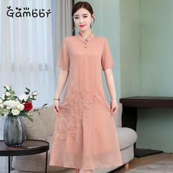 Традиционный китайский Стиль шифоновый Чонсам Ципао ретро платье 2019 летние шорты рукавом высокое качество Улучшенная платье с вышивкой