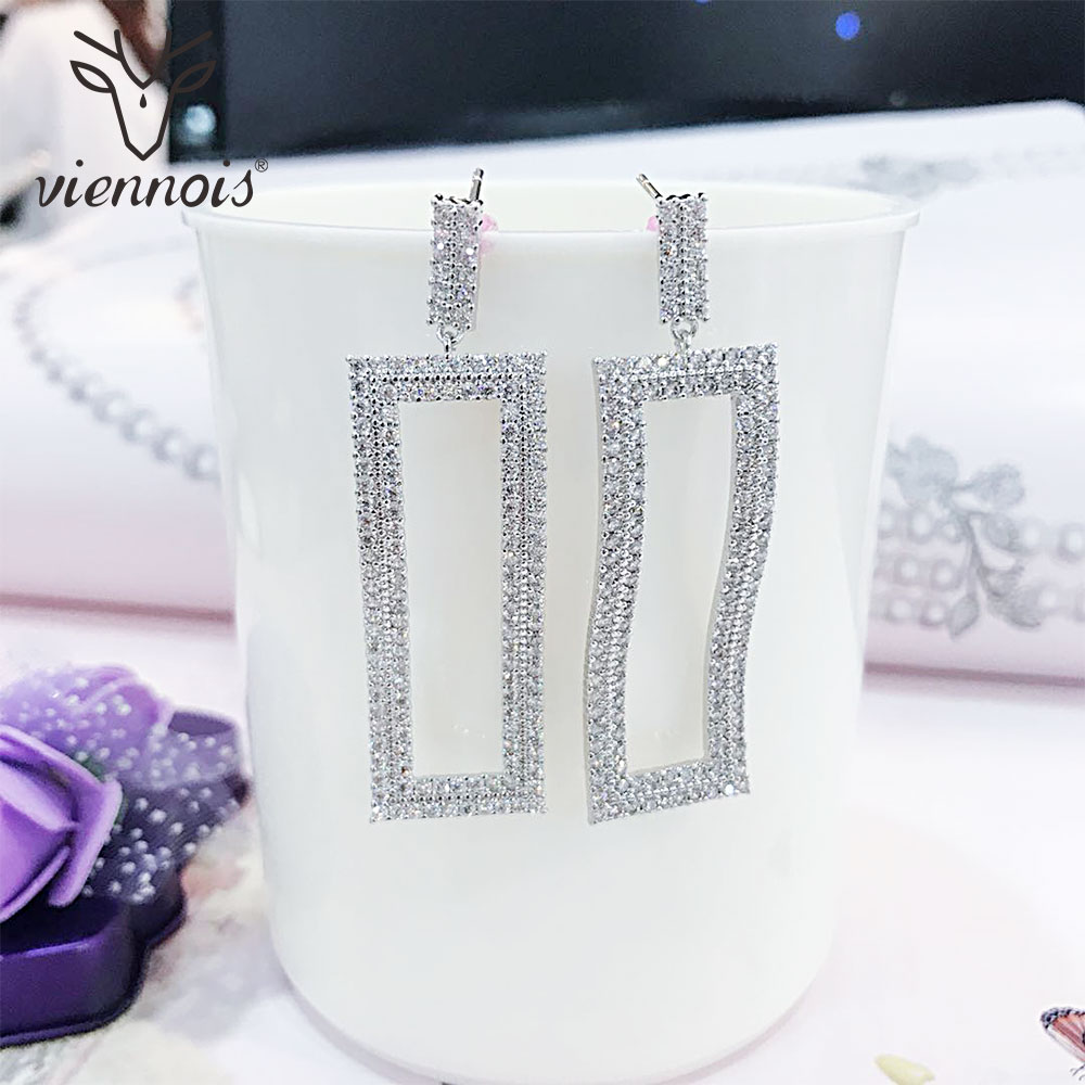 Viennois Luxury Dangle Rectangle Earrings for Women Wedding Zircon Crystal Female Long Drop Earrings