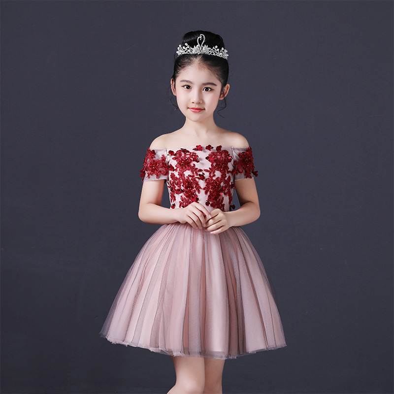Children Girls Elegant Wine-red Color Evening Birthday Party Shoulderless Ball Gown Flowers Dress Kids Baby Model Show Dress