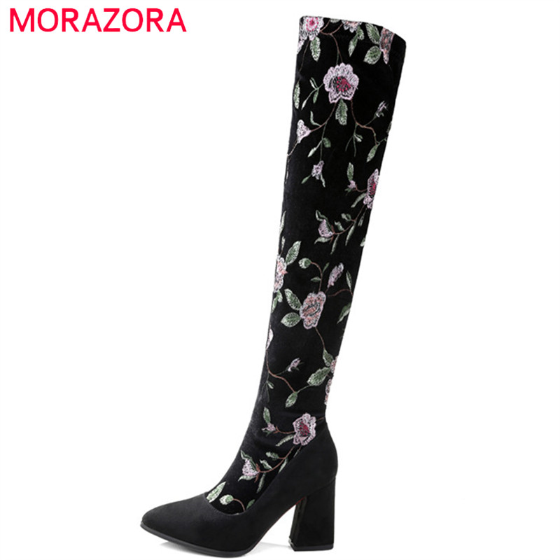 MORAZORA 2019 new arrival over the knee boots women cow suede leather autumn winter boots embroider high heels shoes woman MORAZORA 2019 new arrival over the knee boots women cow suede leather autumn winter boots embroider high heels shoes woman