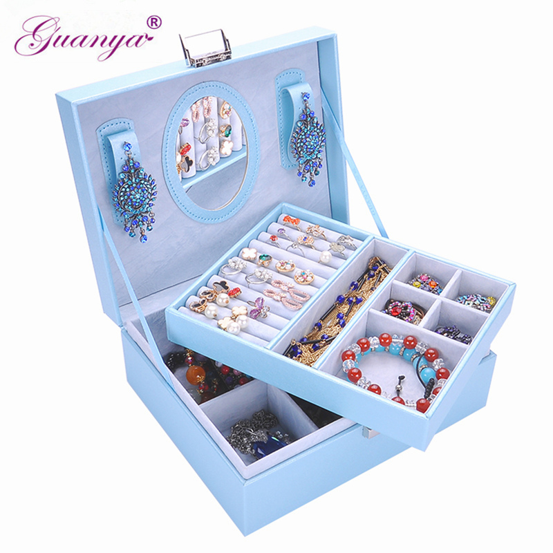 Guanya leather jewelry box GIFT multi Cosmetic&jewelry organizer with mirror lock Storage BOX Casket Container for Home/Travel cute cat pen holders multifunctional storage wooden cosmetic storage box memo box penholder gift office organizer school supplie