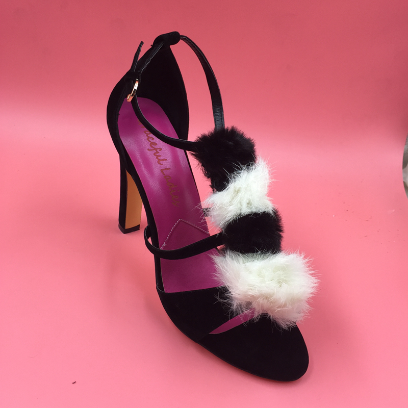 Pompones Mujeres Stilettos Sandalia de Cuero de gamuza Real Imagen Cubierta Talón Sandalias de Plataforma Zapatos