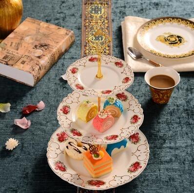 Estilo Europeu de cerâmica pastelaria stock, coração prato, bandeja de doces, cerâmica, três camadas prato de frutas secas, rack de bolo, bandeja - 5