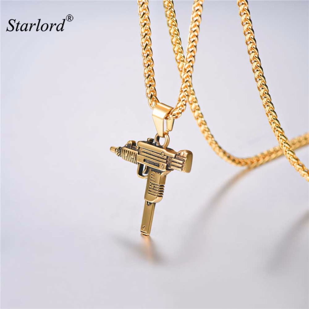 Starlord UZI GUN Necklace&Pendant Gift for Men Hip Hop Jewelry Stainless Steel Military Submachine GUN Jewelry For Men GP2953