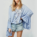 2017 Autumn New Vintage Blouse Cotton Embroidery Deep V Neck Womens Tops Long Puff Flare Ruffles Sleeve Women Shirt