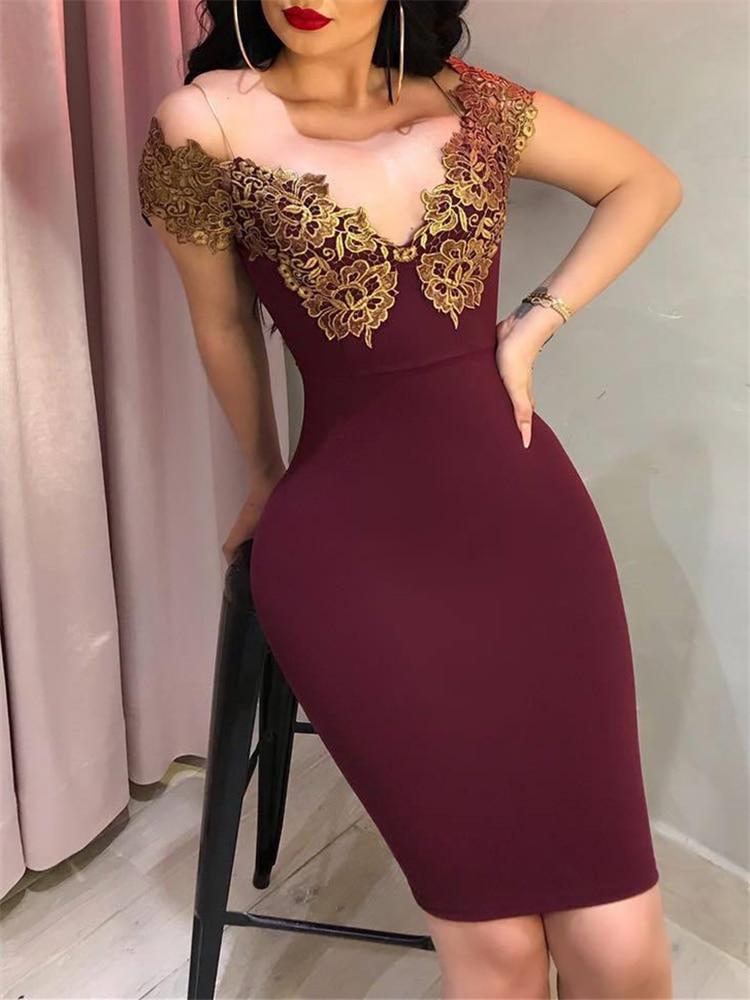 2019 сексуальное облегающее летнее платье для женщин с v-образным вырезом, синие, винно-красные вечерние платья с вышивкой, модные обтягивающи...
