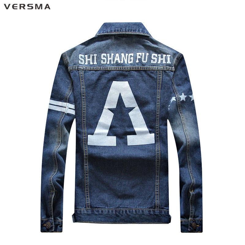 VERSMA Fashion Pattern Male Denim Jacket Harujuku Mens Cargo Shirts American Denim Shirt Girls Denim Jacket for Women Men Blouse