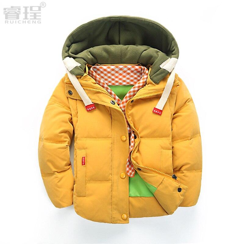 Kızlar Kış Ceket Yeni Sıcak Kısa Ördek Aşağı Kadife 2016 Çocuk Parka Erkek Kış Ceket Ördek Aşağı Kalın Faux Kürk Ceket Için