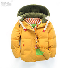Girls Winter Coat 100% Letter Winter Coat New Hot Short Duck Down Corduroy 2016 Children Parka Boys Thick Faux Fur Jacket For