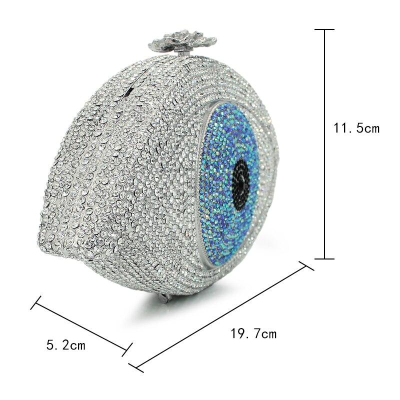 Argent en forme d'oeil fantaisie motif diamant cristal embrayage dames sacs de soirée (8867A-S) - 2