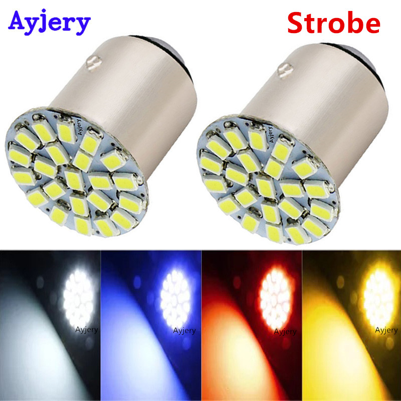 2019 Fashion Ayjery ! 300pcs Srobe 2 Modes S25 1156 Ba15s 1157 Bay15d 1206 22 Smd 22 Led Car Turn Lamp Brake Parking Tail Light 12v White Red
