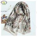 1PC 180*90cm 2017 Spring New Design Silk Satin Feather Printed Women Long Scarf Thin Woman New Silk Big Thin Shawls Pashminas