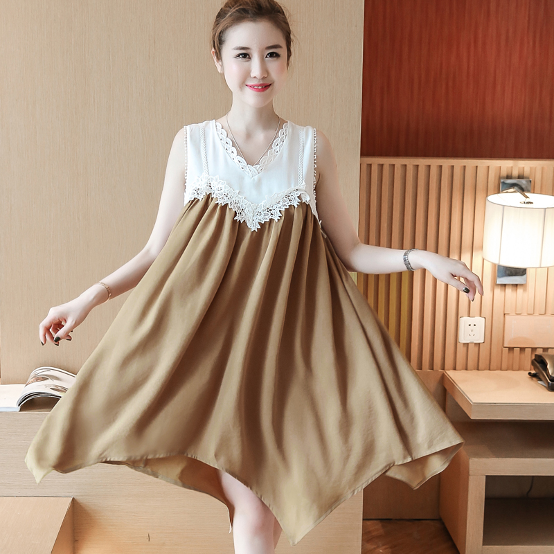 Women Sundress 2017 Summer Maternity Dresses Gravida Loose Chiffon Pregnant Vestido Sleeveless Casual Irregular Tops Fashion
